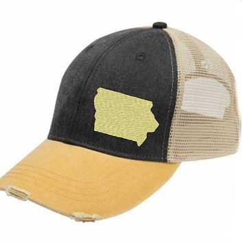Iowa  Trucker Hat - Distressed Snapback -off-center state