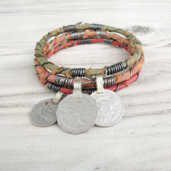 Silk Road Bangle Stack, 3 Piece Set, Tribal Gypsy Coins, Silk Wrapped, Coral, Pumpkin, Hunter Green