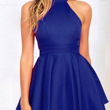 Blue Halter Neck Cut Out Layered Pleated Swing Dress