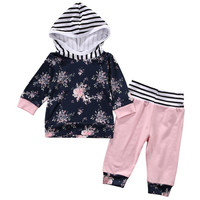 Floral 2 Pcs Baby Girl Hooded Clothing Set Infant Babies Girl Hoodie Flower Tops+Pink Pants 2pcs Outfits Clothes Set