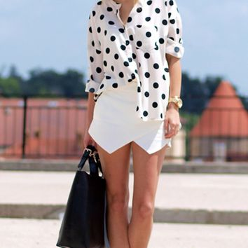 White Two Pocket Asymmetric Wrap Skort Shorts Mini Skirt