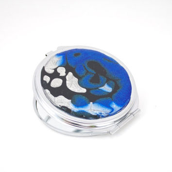 Beauty Mirror Purse Compact for Makeup Lipstick Mirror in Blue Black and Silver Gift for Woman Teen Girl