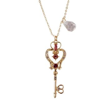 Sailor Moon Crystal Space Time Key Shape Wand Pendant Necklace for Women Girls Cosplay Gift