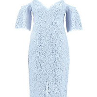 Blue V-Neck Cut-out Shoulder Spaghetti Straps Bodycon Lace Dress