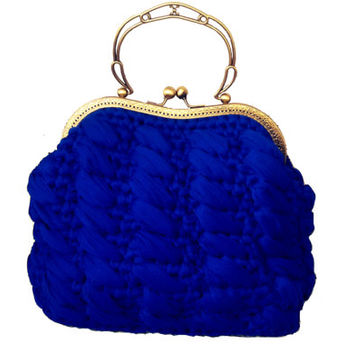 Royal Blue Clutch Crocheted Handbag Click Clack Golden Frame Chic Evening Bag