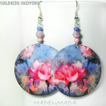 Romantic Flowers Round dangle decoupage earrings Floral motif pink blue,  gift for her under 25