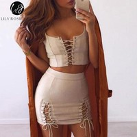 Lily Rosie Girl Sexy Lace Up Leather Suede Mini Pencil Dress Women Autumn Winter Party Two Piece Bodycon Short Dresses Vestidos