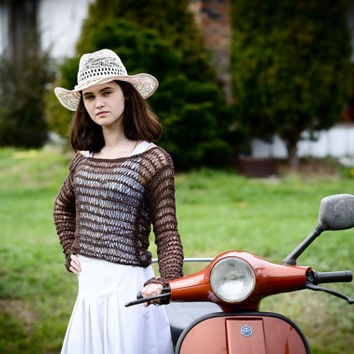 Summer sweater/loose knit sweater/lightweight Grunge shrug/chocolate summer sweater/sweater evening/Ready to ship