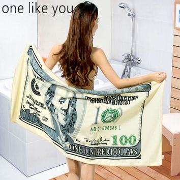 ONE LIKE YOU Summer 150*70 Microfiber Super-absorbent 100 Dollar Printed Bath Towels Beach Towel Serviette De Plage toalla playa