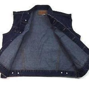 GUESS mens Distressed Jeans Jean Vest size L Large Rugged Biker Sporty Nice 1