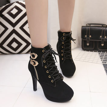 High Platform Lace Up Buckle Sexy Martin Boots Shoes