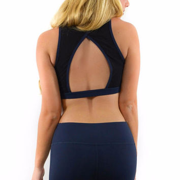Fireworks Navy Mesh Paneled Cutout Back Sports Bra