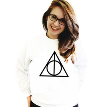 [Deathly Hallow] Death Hallows printed solid color women's sweater
