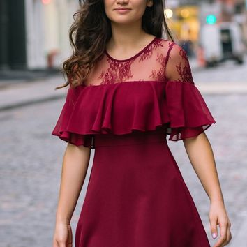 Karina Burgundy Lace Ruffle Dress
