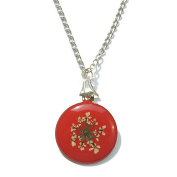 Queen Anne's Lace pendant, real flowers necklace , Red white floral pendant, Red jewelry, Resin pendant