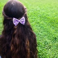 Purple Floral Hair Bow by RachellesBows on Etsy