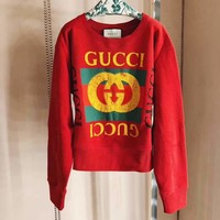 '' GUCCI ''HOT SALE Round neck letters printed long sleeve sweater