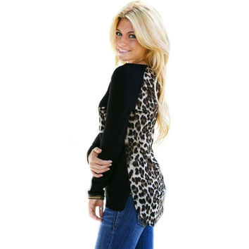 Women's Leopard Long Sleeve Casual Tee T-Shirt