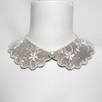 Ecru Cream Floral Tulle Peter Pan Collar Necklace with Pearls
