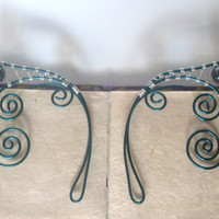 Dark Green & Silver Plated Handmade Wire Wrapped Hematite Elf Ear Cuffs. Wire Weave, Elven Ears, LARP, Fantasy Wedding