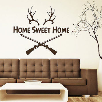 Wall Decals Quote Home Sweet Home Hunting Rifle Horns Vinyl Sticker Decor DA3766