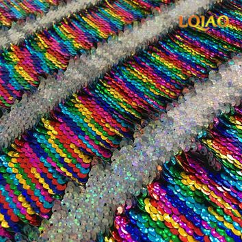 High Quality Rainbow-Laser Silver Reversible Sequin Fabric Mermaid Fish Scale Flip Up Sequin Fabric for Dress/Bikini/Pillow