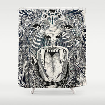 Lion Shower Curtain by Feline Zegers