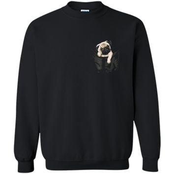 Dog in Your Pocket  Pug  Printed Crewneck Pullover Sweatshirt
