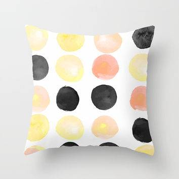 Peach + Coal Dots Throw Pillow by cadinera