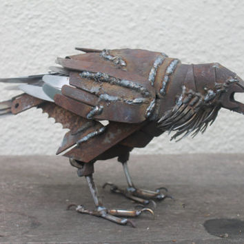 Scrap Metal Sculpture,Raven Welded from Scrap and Recycled Metals Unique Art Work, Reclaimed Steel Art
