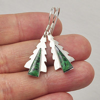 Holiday Earrings, Winter Earrings, Christmas Tree Earrings, Pine Tree Earrings, Sterling Silver Earrings, Handmade Earrings, Green Earrings