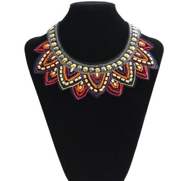 Tribal Jewelry Handmade Spiky Geometric Triangle Charm Bib Choker Necklace New