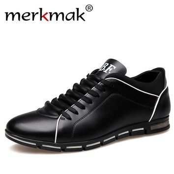 Merkmak Men Leather Shoes Casual Autumn Fashion Soft Loafers