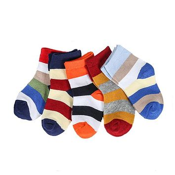 5 pairs/lot New Soft Cotton Boys Girls Children Socks Cute Cartoon Stripe Smiling Face Stars Pattern Kids Socks Baby Styles 1-9Y