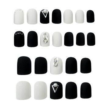 ELECOOL 24pcs Matte False nails Black Nailing With Glue fake nail Artificial Board DIY Tool Nail Art Accessories faux ongles