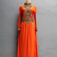 Exotic Orange Caftan Maxi Dress Gold Embroidery, Great for Wedding Bridesmaid Party Summer Kaftan Dress, Sof Jersey Marocain Caftan Dress