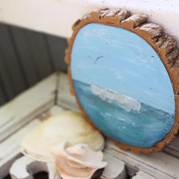 Coastal Fine Art Seascape on Wood Slice , Seaglass Art , Nautical Home Decor