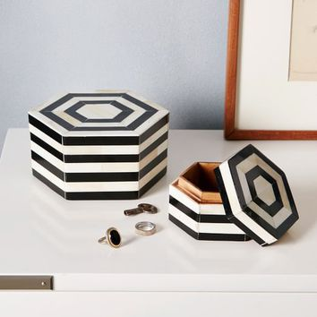 Black + White Striped Boxes