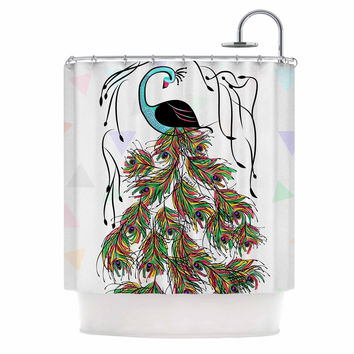 "Famenxt ""Colorful Peacock"" White Green Shower Curtain"