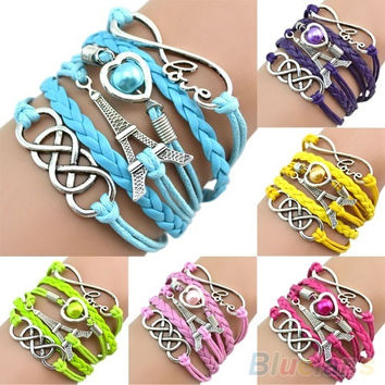 bracelet, fashion jewelry, Eiffel Tower charms Cuff Friendship Bracelet Multilayer braided leather wristband = 1932720260
