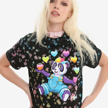 Lisa Frank Panda Painter Bleach Splatter Girls Crop T-Shirt