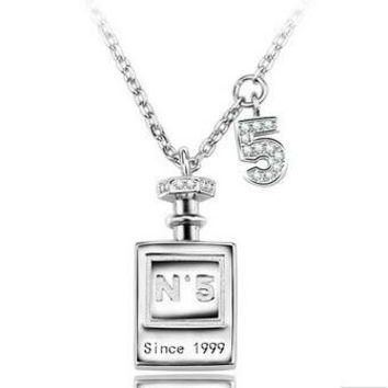 Perfume Bottle in 925 Sterling Silver Necklace