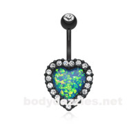 Black Opal Heart Essentia Belly Button Ring 14ga Navel Ring Body Jewelry