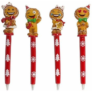 Gingerbread Emogee Pens - Set of 4
