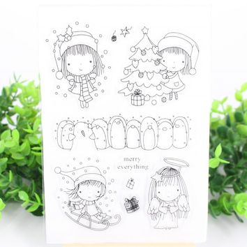 Christmas Tree Girl Transparent Clear Rubber Stamp/Seal for DIY Scrapbooking/photo Album Decorative Clear Stamp Sheets F4703