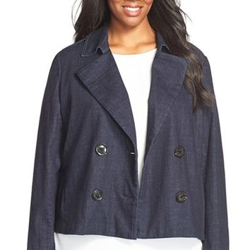 Plus Size Women's Sejour Denim Peacoat Jacket,