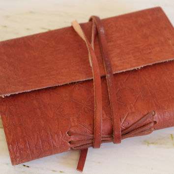 Pages of My Life  Embossed Leather Journal Diary with leather strap closure
