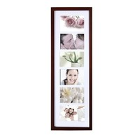 Adeco [PF0286] 6-Opening Walnut Matted Wooden Wall Hanging Collage Picture Photo Frames - Home Decor Wall Art, Holds Six 4x6 Inch Photos