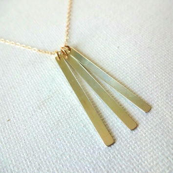 925 Sterling Silver Bar Layered Necklace and 14k Rose Gold; 14k Gold Fill; 925 Serling Silver Chain Necklace- Mixed Metals Unique Layering