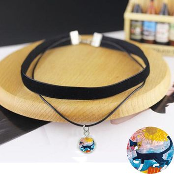 Black Velvet Choker necklace with Colorful Cats Family Accessories Colorful Cats 2 layer choker collar necklace